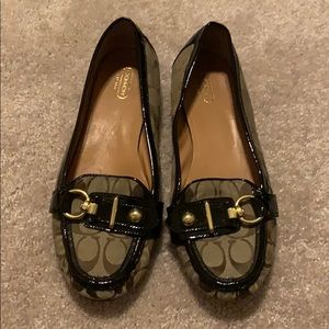 Coach Brown and Tan Signature Loafers. Size 11